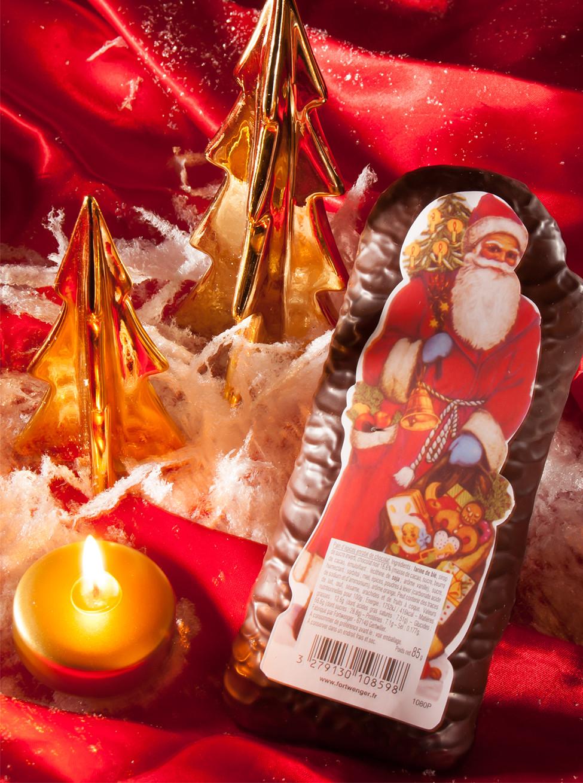 Père Noël en pain d'épices enrobé de chocolat