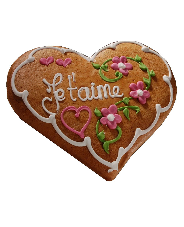 Pain d'épices d'Alsace forme coeur décor fleurs
