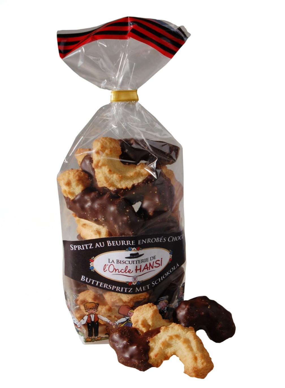 Spritz au beurre enrobé chocolat Biscuiterie de l'Oncle Hansi