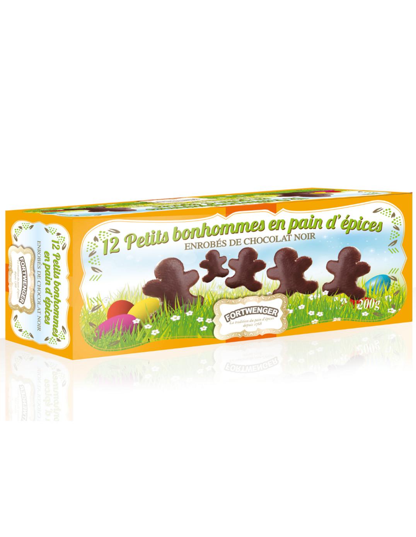 Bonhomme de Pâques en pain d'épices enrobé de chocolat noir