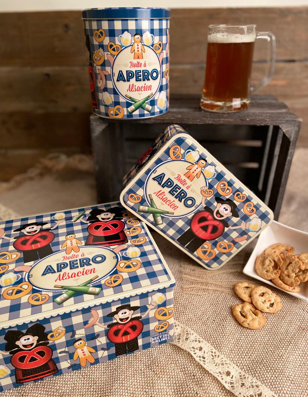 Boîte à sucre décor APERO garnie de biscuits salés 300g