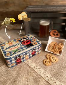 Boîte à sucre décor APERO garnie de biscuits salés