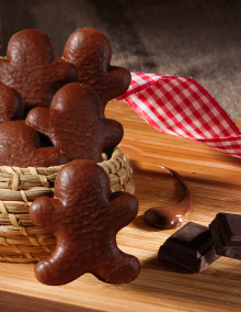 Bonhomme Pâques en pain d'épices enrobé de chocolat au lait