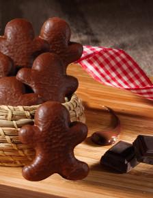 Bonhomme en pain d'épices enrobé de chocolat au lait